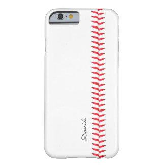 Béisbol del tema del deporte que cose nombre de funda de iPhone 6 barely there