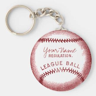 Béisbol del vintage, bola personalizada llavero redondo tipo pin