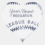 Béisbol del vintage, bola personalizada pegatinas corazon