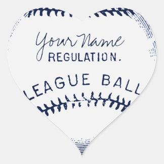 Béisbol del vintage, bola personalizada pegatina en forma de corazón