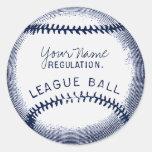 Béisbol del vintage, bola personalizada pegatina redonda