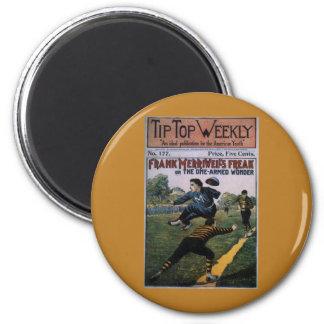 Béisbol del vintage, cubierta de semanario imán redondo 5 cm