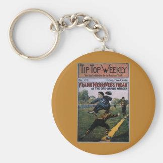Béisbol del vintage, cubierta de semanario llavero redondo tipo chapa