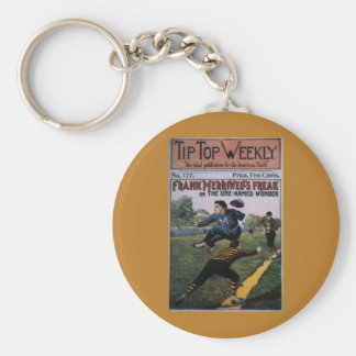Béisbol del vintage, cubierta de semanario llavero redondo tipo pin