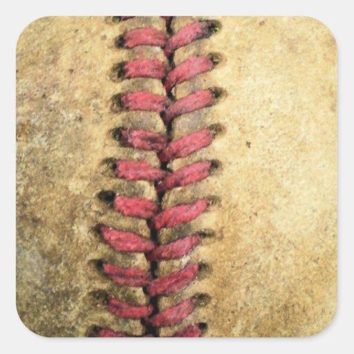 Béisbol del vintage pegatina cuadrada