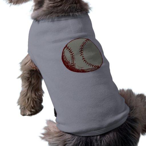 Béisbol del vintage playera sin mangas para perro