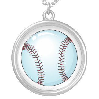 Béisbol detallado collar plateado