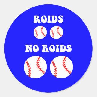 Béisbol divertido de los esteroides pegatinas redondas