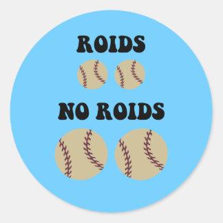 Béisbol divertido de los esteroides pegatina redonda