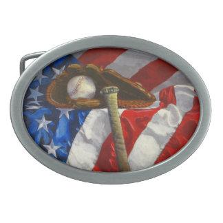 """Béisbol - el """"juego de América """" Hebillas De Cinturón Ovales"""