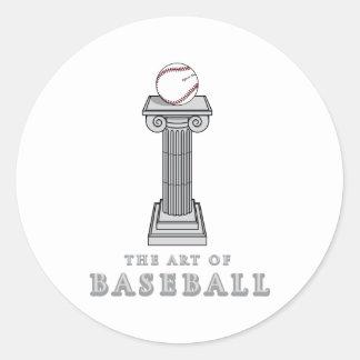 béisbol en arte del pedestal pegatina redonda