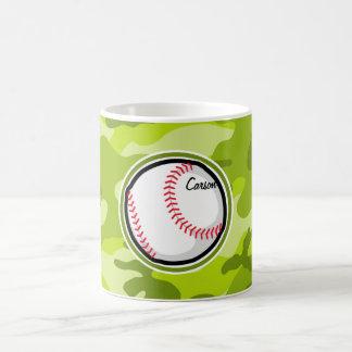 Béisbol en Camo verde, camuflaje Tazas De Café