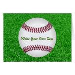 Béisbol en el césped tarjetas