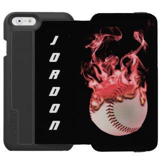 Béisbol en el fuego funda cartera para iPhone 6 watson