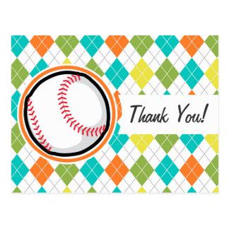 Béisbol en el modelo colorido de Argyle Postales