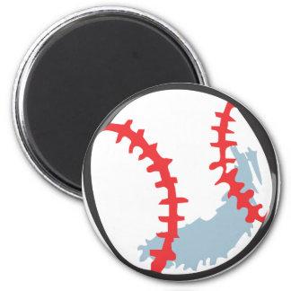 Béisbol en estilo a mano imán redondo 5 cm