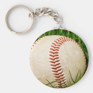 Béisbol en hierba llavero redondo tipo pin