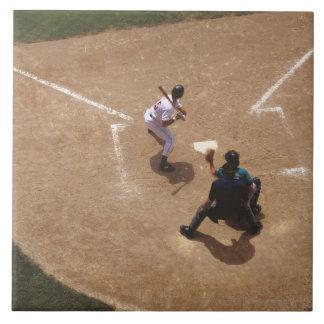 Béisbol en la meta azulejo cuadrado grande