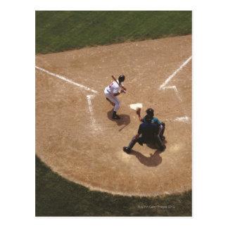 Béisbol en la meta tarjetas postales