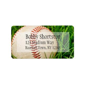 Béisbol en las etiquetas de dirección de la hierba
