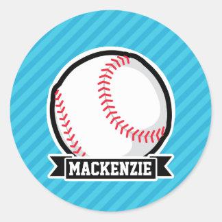 Béisbol en rayas azules de cielo pegatina redonda