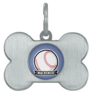 Béisbol en rayas azules y blancas placa mascota