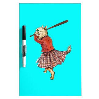 béisbol escocés del vintage que juega el gato pizarra