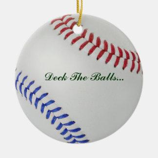 Béisbol Fan-tastic_Color Laces_Deck las bolas Adorno Navideño Redondo De Cerámica