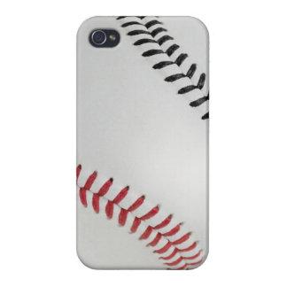 Béisbol Fan-tastic_Color Laces_rd_bk iPhone 4 Carcasas