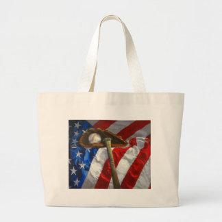 Béisbol, guante, palo y bandera americana bolsa tela grande