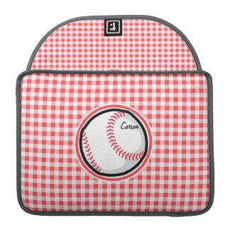 Béisbol; Guinga roja y blanca Fundas Macbook Pro
