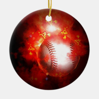 Béisbol llameante adorno navideño redondo de cerámica