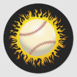 Béisbol llameante etiquetas redondas