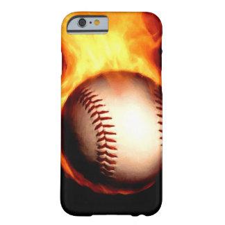 Béisbol llameante funda para iPhone 6 barely there