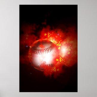 Béisbol llameante inspirado póster