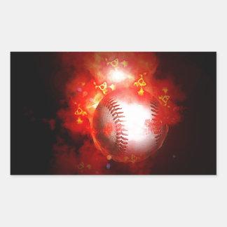 Béisbol llameante pegatina rectangular