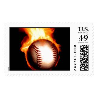 Béisbol llameante sello postal