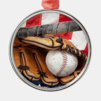Béisbol los 18 E.E.U.U. Adorno Navideño Redondo De Metal