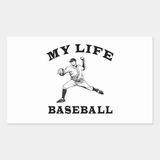 Béisbol mi vida pegatina rectangular