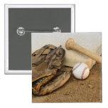 Béisbol, mitón, y palo en base pin cuadrado
