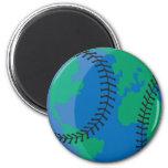béisbol mundial de la tierra del globo imanes de nevera