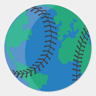 béisbol mundial de la tierra del globo pegatina redonda