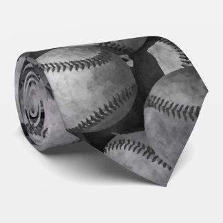 Béisbol negro y blanco corbata personalizada