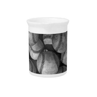 Béisbol negro y blanco jarra para bebida
