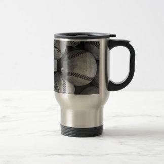 Béisbol negro y blanco taza de viaje