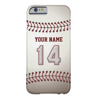 Béisbol número 14 con su nombre - deportivo funda de iPhone 6 barely there