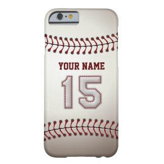 Béisbol número 15 con su nombre - deportivo funda barely there iPhone 6