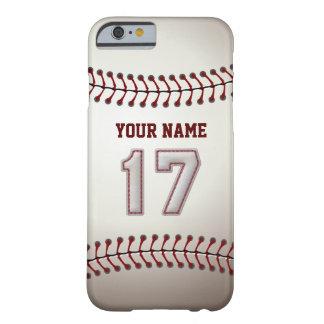 Béisbol número 17 con su nombre - deportivo funda para iPhone 6 barely there