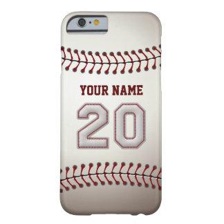 Béisbol número 20 con su nombre - deportivo funda de iPhone 6 barely there