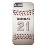 Béisbol número 21 con su nombre - deportivo funda de iPhone 6 barely there